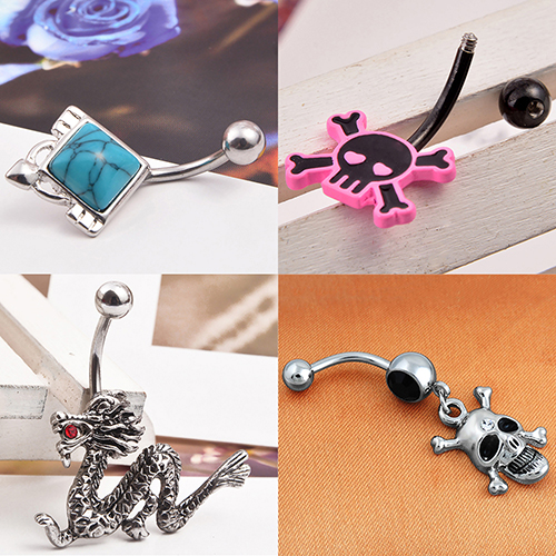 HTB1voZqNFXXXXaJXFXXq6xXFXXXZ Stylish Rhinestone Body Piercing Belly Button Bar Ring Jewelry - 10 Styles