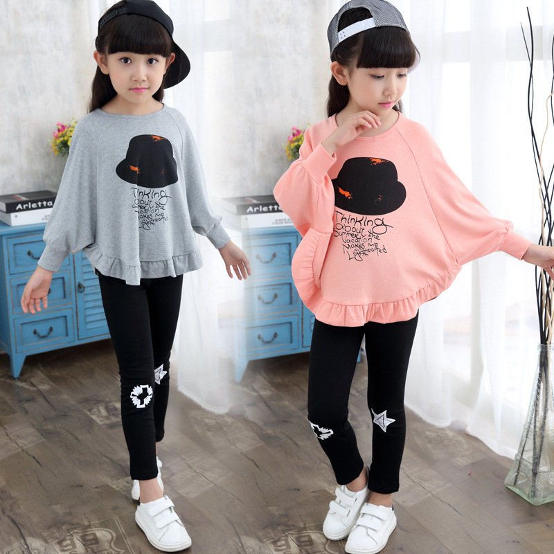 girls clothes set Novelty kids suits batwing sleeve t shirt + Leggings pants fashion Spring/Autumn children clothing