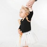 YK & Loving Borduurwerk Zwart Pasgeboren Kleding Sets Handleiding Wit Kant Rok Effen Katoen Zwart Jumpsuit Lange Mouwen Groothandel