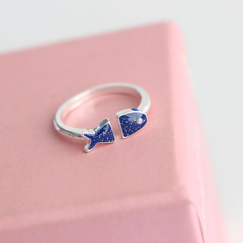 SANSUMMER Ring For Woman 39 s Cute Sweet Blue Dripping Glaze Fish Ring Adjustable Opening Ring 2018 New Style Holiday Gift 5039 in Rings from Jewelry amp Accessories