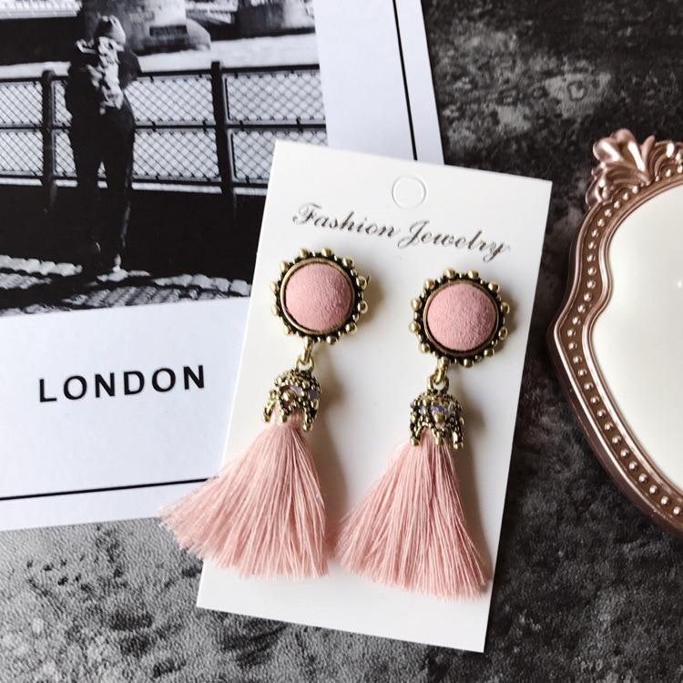 Women Fashion Jewelry Vintage Velvet Ball Statement Fringed Drop Earring Female Jewellery ,Ear Studs gray a 19