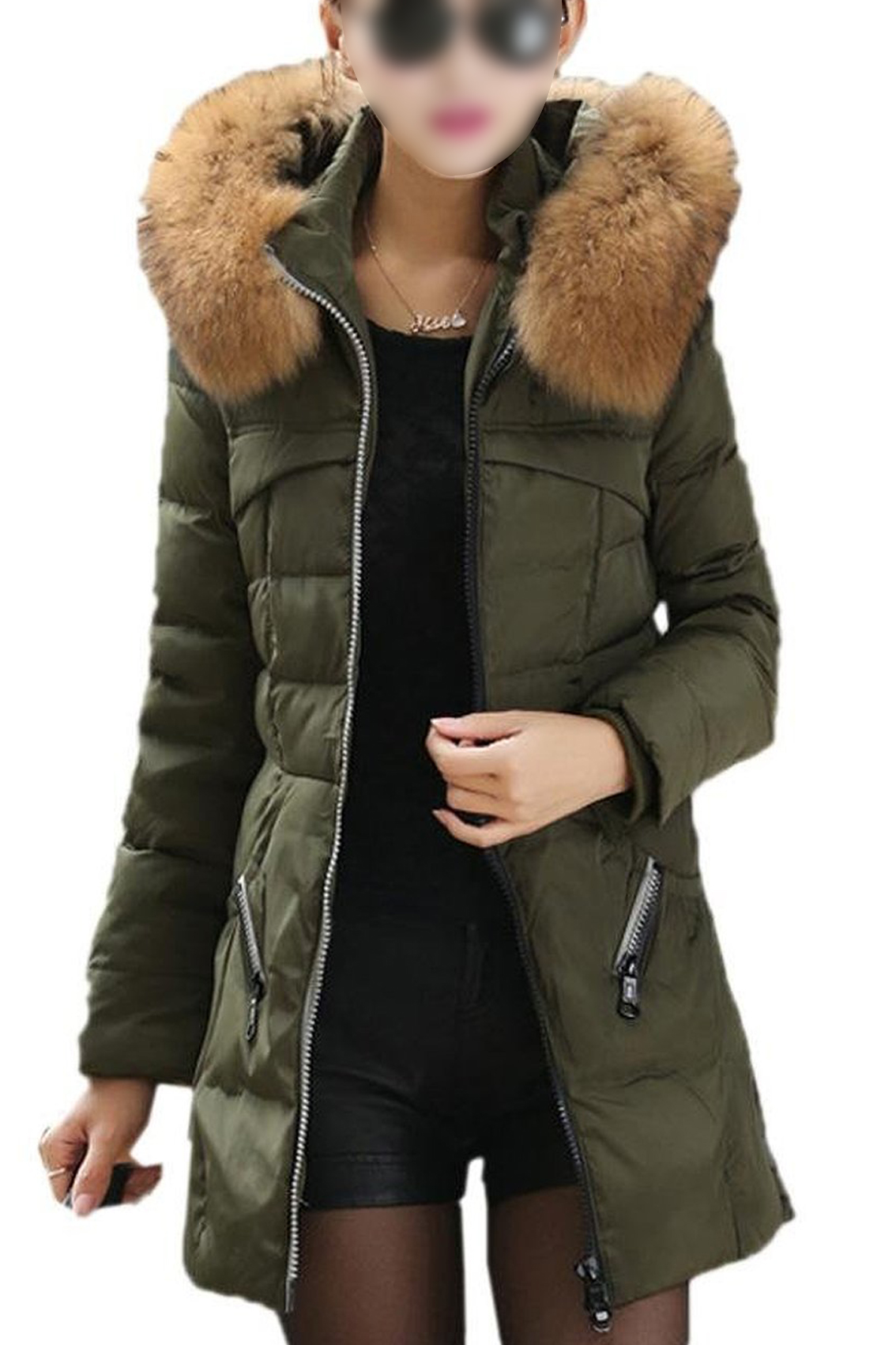 Top Fashionable Goods Shop TFGS Women Casual Winter Slim Thick Long Down Jacket Fur Collar Coat Overcoat