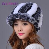 Ruihu genuina Rex piel POM poms nieve invierno sombreros niñas Cap piel natural tejer conejo skullies gorros sombreros de las mujeres RHM668