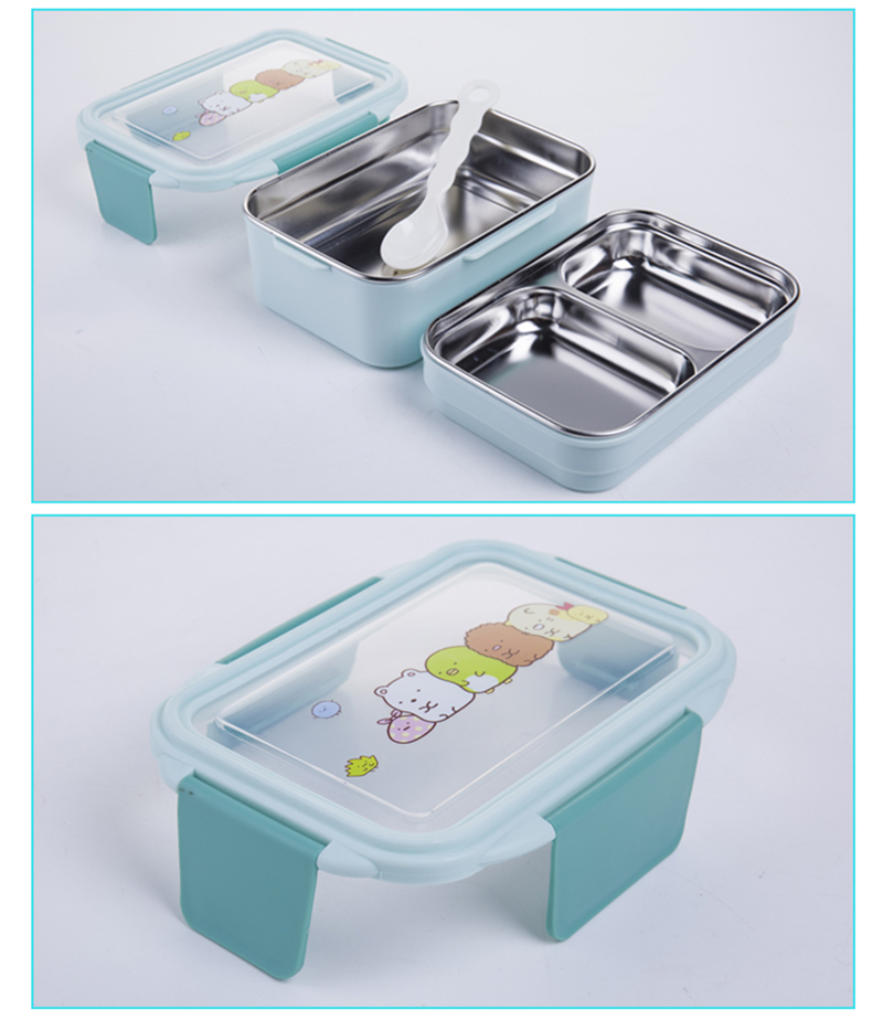 TUUTH Cartoon Lunch Box  Stainless Steel Double Layer Food Container Portable for Kids Kids Picnic School Bento Box B6