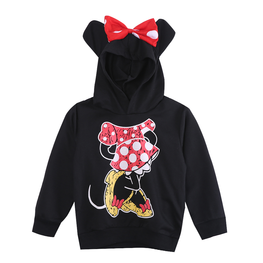 New Fashion Cute Kids Girls Boys Minnie Mouse 2016 Hooded Jacket Sweater Hoodie Coat 1-6Y
