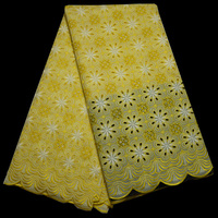 Free Shipping 5yards Pc High Quality African Dry Cotton Lace Fabric In Yellow And White For