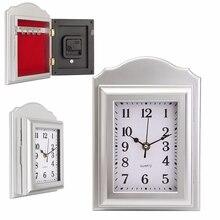 Clock Shape Secret Hidden Security Safe Key Lock Cash Money Jewellery Locker Storage Box Insurance Box Case with 4 Hooks