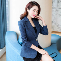 Women Quality Jacket Blazer Slim Long Sleeve Single Button Coat Office Lady Jacket Female Notched Tops Blazers Feminino Outwear