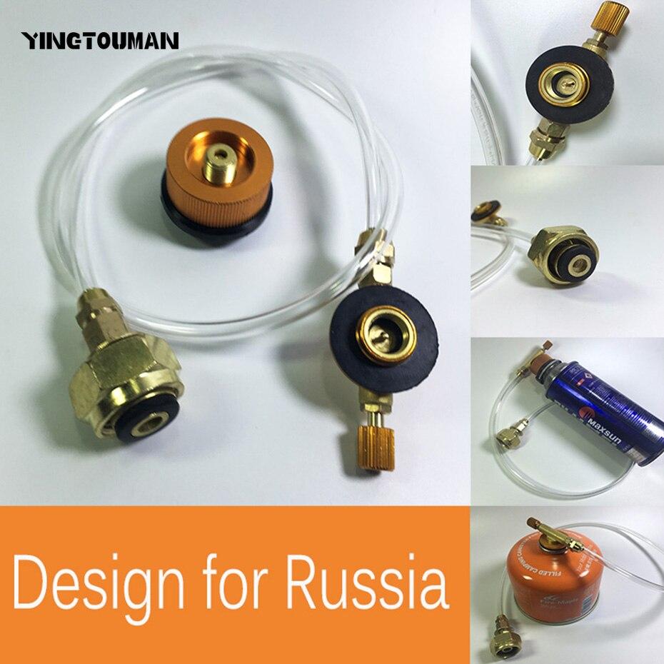 YINGTOUMAN Campingkocher Propan Refill Adapter Gasbrenner LPG Flache Zylinder Tank Koppler Flasche Adapter Sichere Sparen für Russland