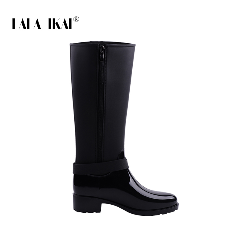 2cd70424ee9 LALA IKAI Women Rain Boots Hunter Zipper Med Heel Waterproof PU Buckle  Patchwork Over The Knee Boots 014C2983 49-in Knee-High Boots from Shoes on  ...
