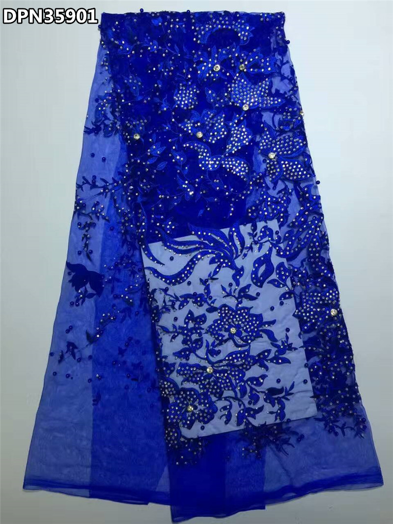 Royal blue luxury french rhinestones lace fabric latest for French lace fabric for wedding dresses