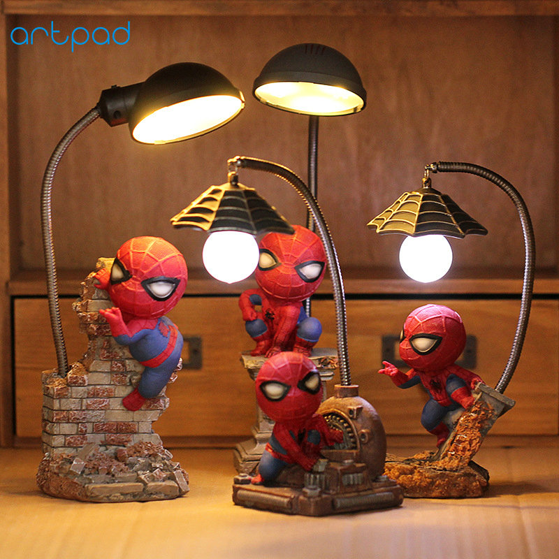 Artpad The Avengers Action Figures Spider Man Lamp Resin Children Bedroom LED Night Light for Boy Kid Creative Gift artpad creative cute cartoon umbrella style totoro night lamp usb port charged led bedroom light for kid boy girl desk lighting