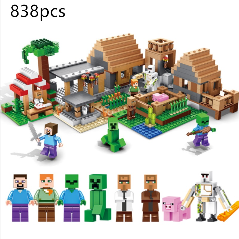 My World LegoING Minecrafted The Farm Village Cottage Building Blocks Technic House Figures Brick Educational Toys For Children