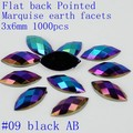 3x6mm 1000pcs Acrylic Flat Back Marquise Earth Facets AB Colors Acrylic Rhinestone Glue On Acrylic Beads Decorate