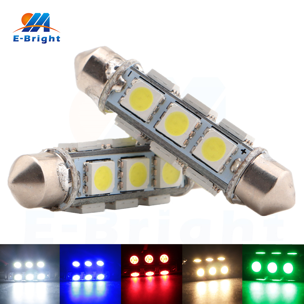 10pcs 44mm 12V 5050 12 SMD LED Festoon Bulb Car Dome Reading Ceiling Pate Number Lamp White Blue Red Green Amber Free Shipping
