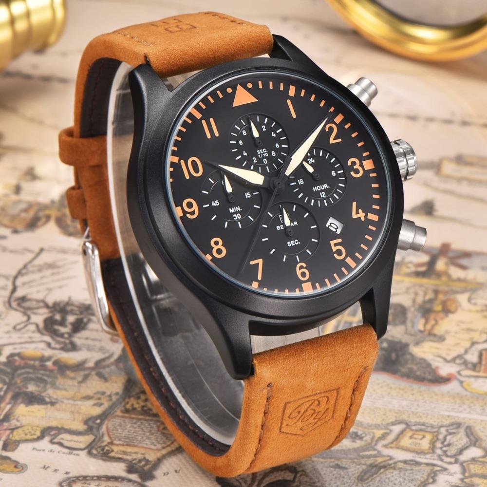 Prix pour BENYAR Pilote Série Véritable En Cuir Quartz Montres Hommes Étanche 30 m Mode Sport Chronographe Montre relogio masculino Horloge