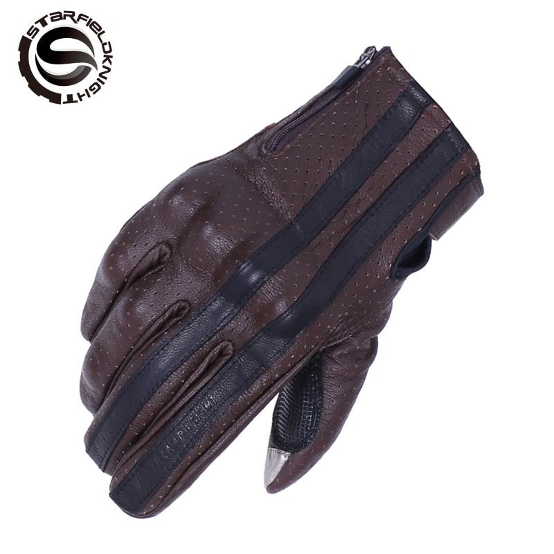 Men Retro Motorcycle Racing Gloves Goatskin Full Finger Motorbike Motorsport Touch Screen Gloves Moto Luvas Brown Black