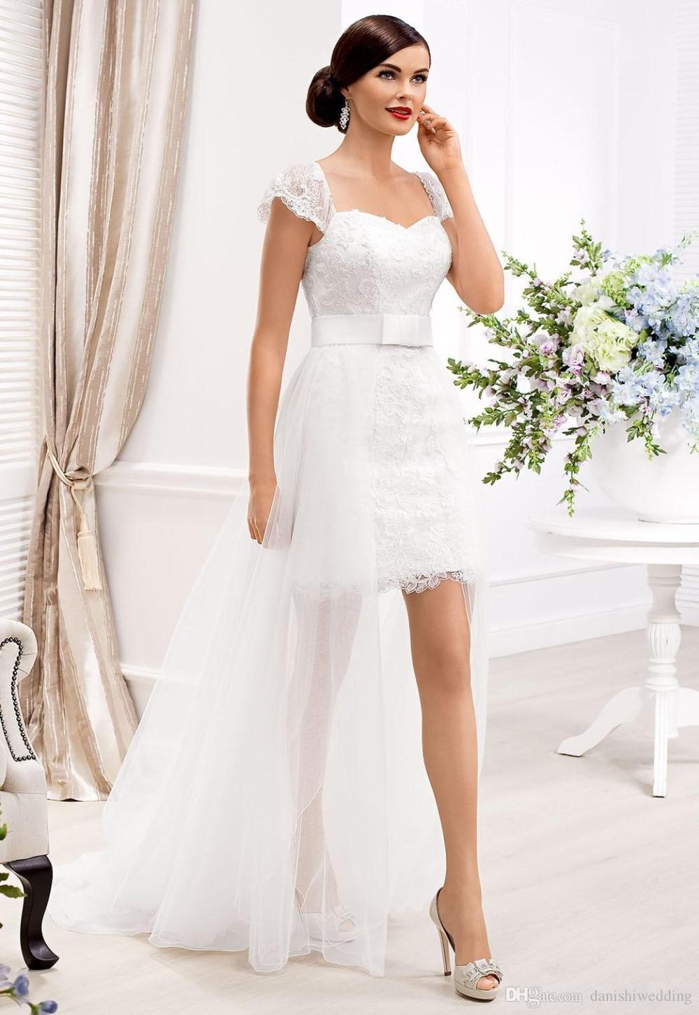 Beach Detachable Lace Short Style Wedding Dress Elegant ...