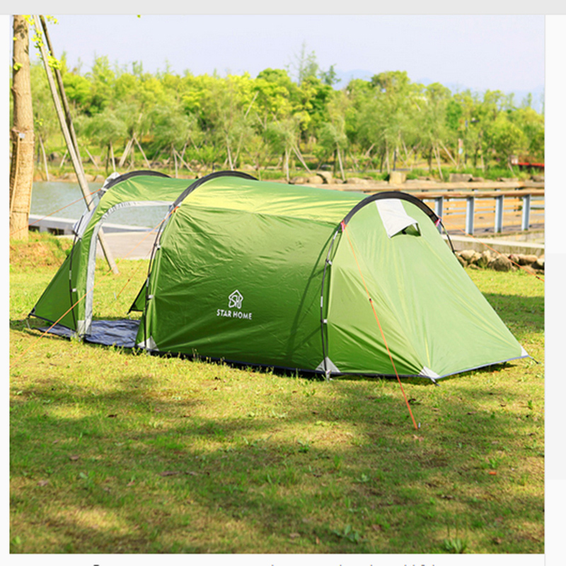 Waterproof Outdoor Beach Tent Outdoor Camping Tent 3-4 Person Double Layer Tunnel Tent