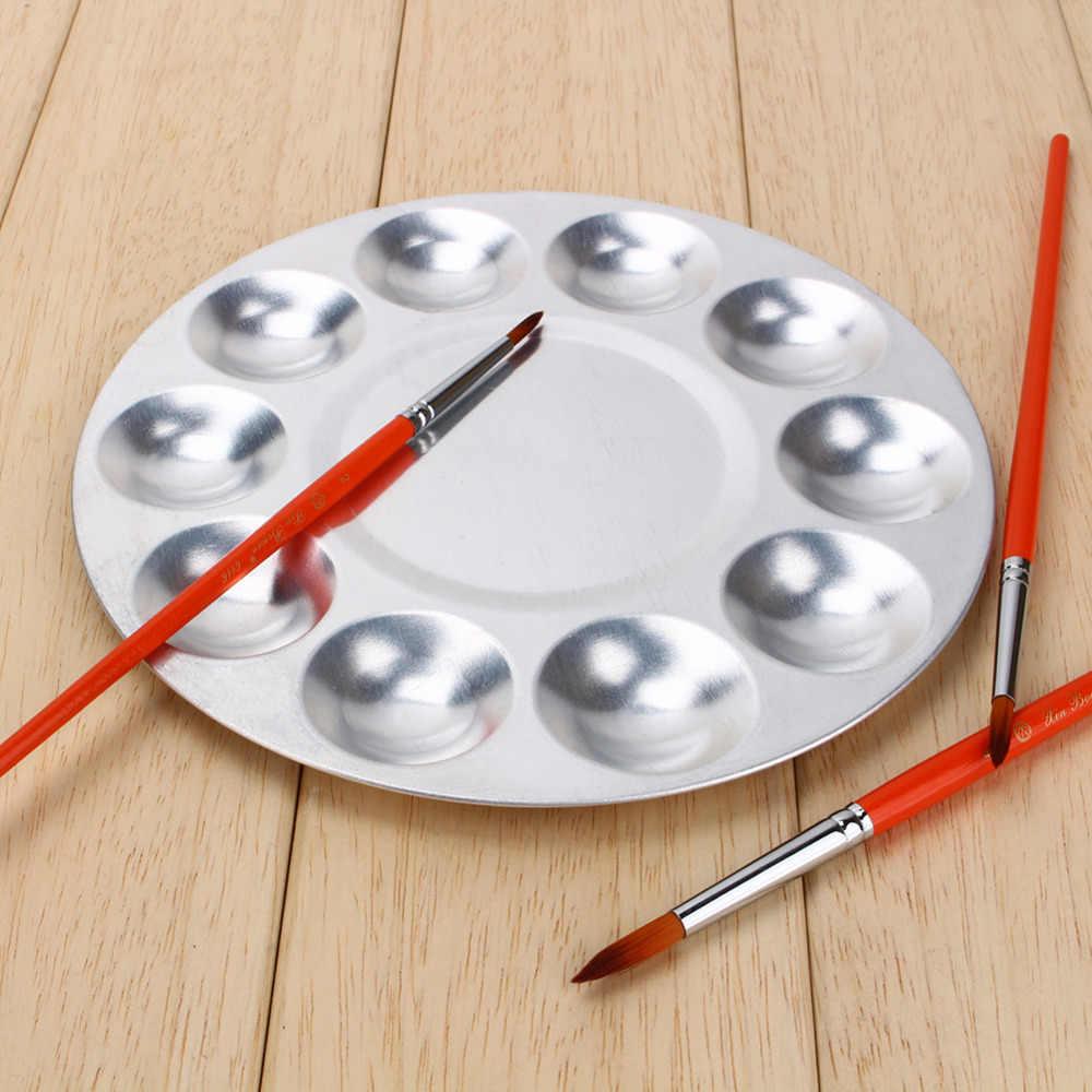 Aluminium 10 przedziałów akwarela farby olejne malarstwo taca paleta do mieszania