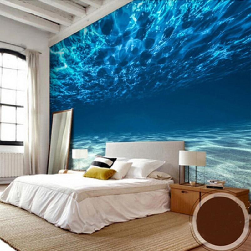 Fototapete 3D Stereo Blue Meerwasser Wandbild Esszimmer Wohnzimmer ...
