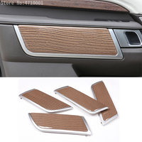 4pcs Sands Wood Grain Car Interior Door Handle Panel Cover Trim For Land Rover Discovery 5 LR5 L462 2017 2018 Replacement Parts