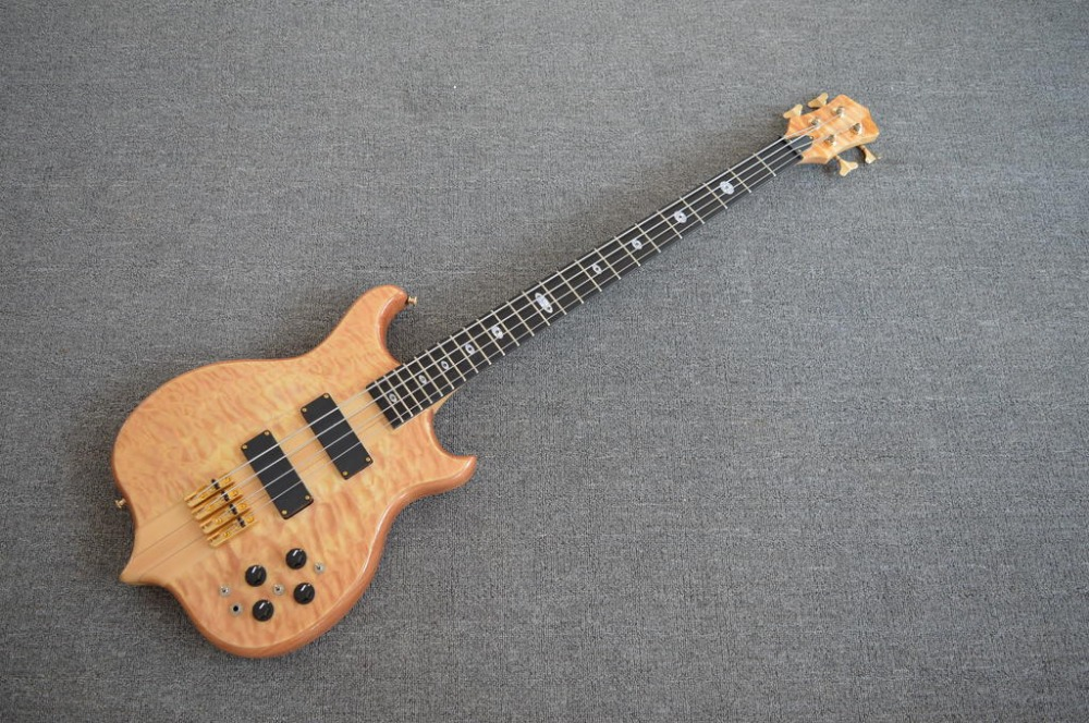 New Custom Shop Quilted Maple 5 Ply Neck Thru bass Ebony Fretboard Active 9V Pickup 4