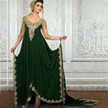 2017 New Middle East Design Green Evening Dresses Appliques beaded Dubai Arabic Prom Dresses Vestidos Abaya jalabiya Islamic