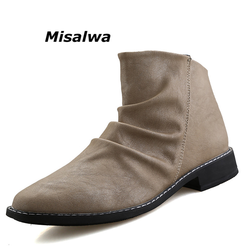 Misalwa 2019 Autumn New Brand Leather White Short Boots For Man Waterproof Shoes Black Ankle Boots