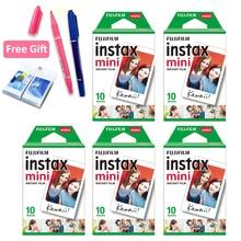 Fujifilm película Instax Mini 8, 50 hojas blancas, regalo gratis, un álbum y 2 bolígrafos de dibujo para cámara Fujifilm Instant Mini 11 7s 25 90
