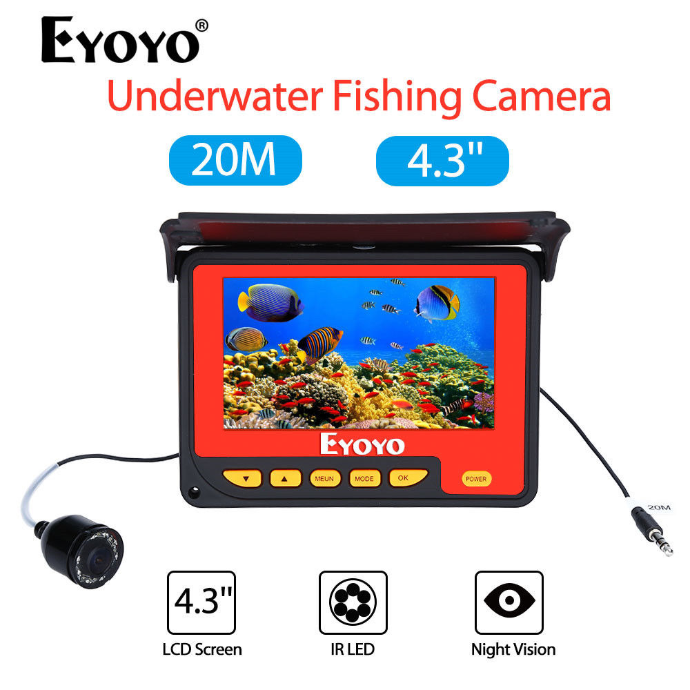 EYOYO F05 4.3 20M Infrared IR 150degrees Underwater Ocean River Lake Boat Ice Fishing Camera Fish Finder Video Fishfinder Fixed lucky ice underwater fish finder camera kit with 20m cable ir video fishing camera for sea boat fishing ff3308