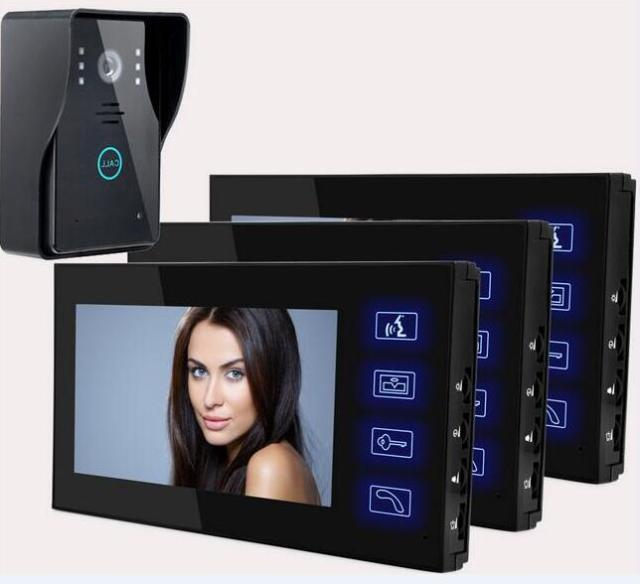 Freeship 7 Inch Apartment Video Intercom Wireless 2.4 Ghz 0.3Mega Pixel Door Camera Video Door Phone 1 Camera and 3 Monitors
