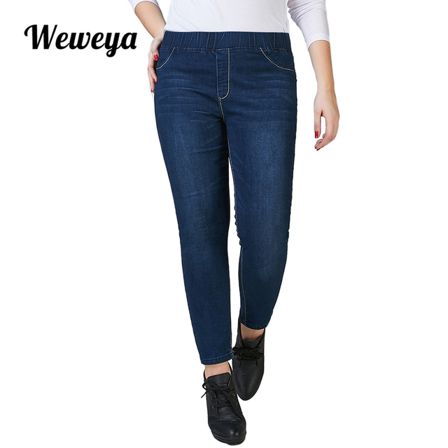 6c06eaffa09 Weweya Skinny Jeans Woman 2017 Slim Elastic Denim Pants Capris Jeggings  Jeans Woman Plus Size Ankle Pencil Pants For Women