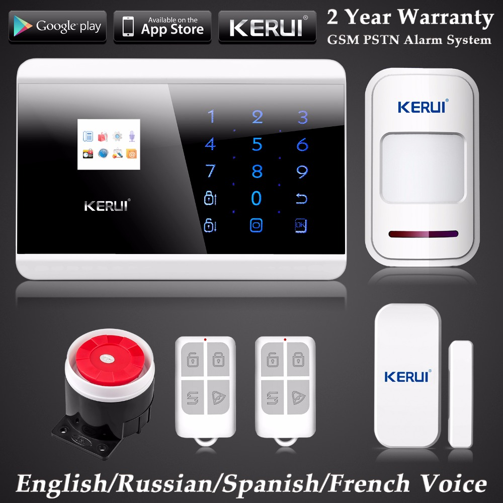 KERUI English/Russian/French/Spanish Voice GSM PSTN Dual Net Wireless Home Alarm System Security Android IOS APP Touch keypad free shipping guard english french app wireless gsm pstn phone alarm security system built in speaker for intercom security