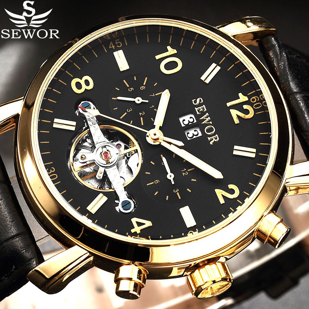 SEWOR Tourbillion Black Gold Dial Fashion Casual Luxury Auto Date Men Watch Top Brand Mechanical Automatic Watch For Men