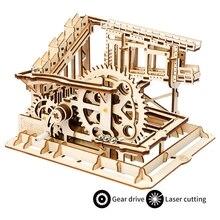 Robud gyönyörű összeszerelés Steel Ball Crash Gear meghajtó fa modell Építési készletek Gyerekek Felnőtt Újdonságok Játékok Hobbik LG502
