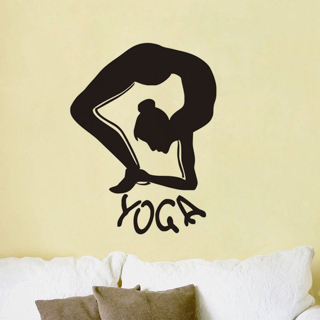 Home decor wall stickers yoga fitness dance vinyl art wall decals meditation philosophy new window stickers