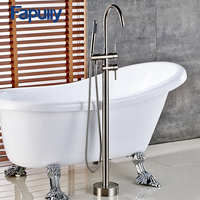 Fapully Shower Mixer Nickel Brushed Floor Standing Faucet Set Bathroom Mixer with Hand Spray Shower Mixer Taps Bathtub Faucet