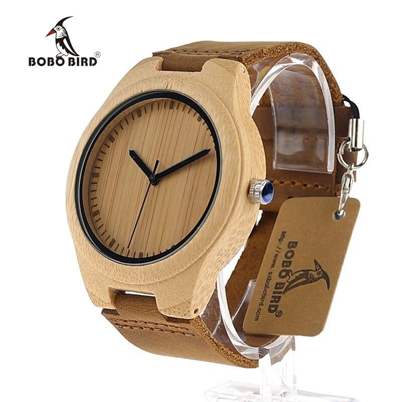 ФОТО BOBO BIRD Bamboo Watches Men Wooden Dial Soft Leather Strap Simple Design Watches Quartz Clock in Box Uomo Orologio