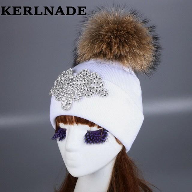 Delle donne della ragazza di marca cappello di inverno berretto di visone  volpe palla pompon cappelli 56d3e42a052d