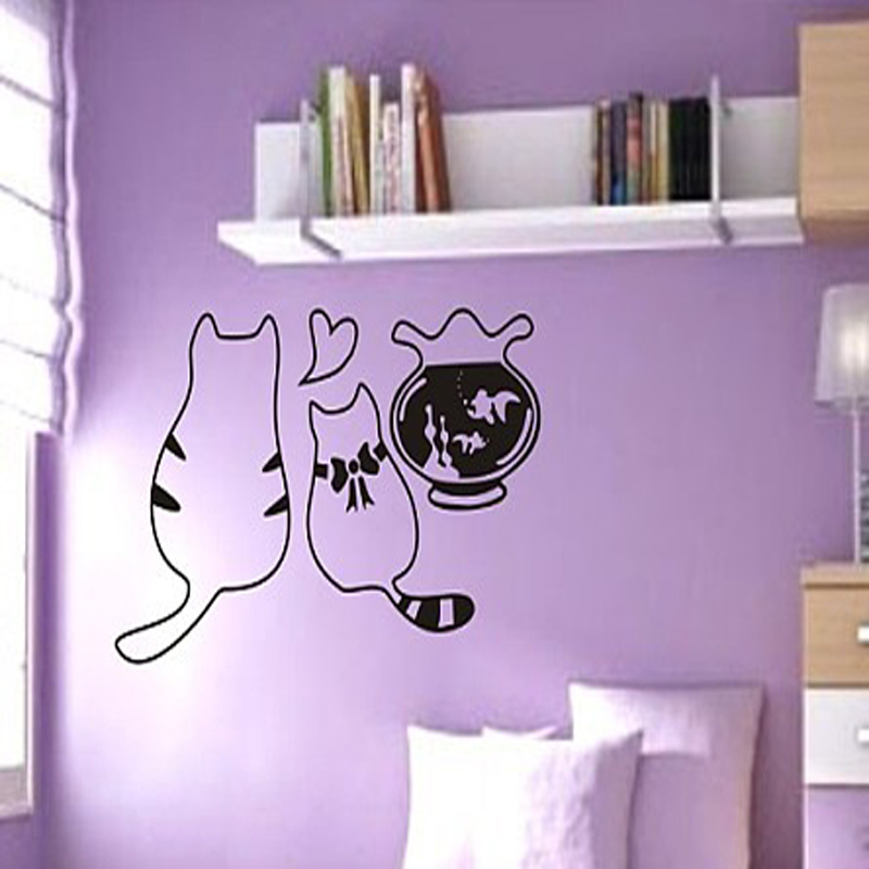 Cartoon Creative Love Fish Cats DIY Wall Stickers Quote Art Home Decor Living Room