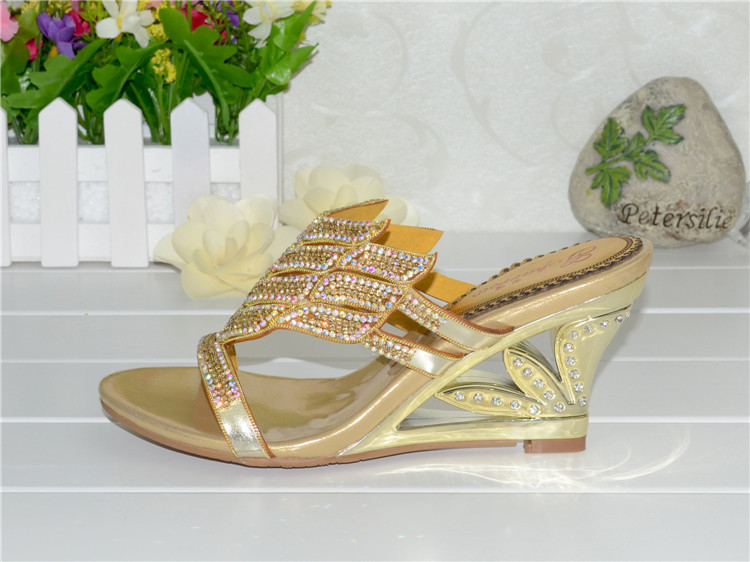 2016 Summer New Diamond Slope With High Heeled Wedges Online Shoes Sandals Size 11 Womens Golden Open Toe Slippers12