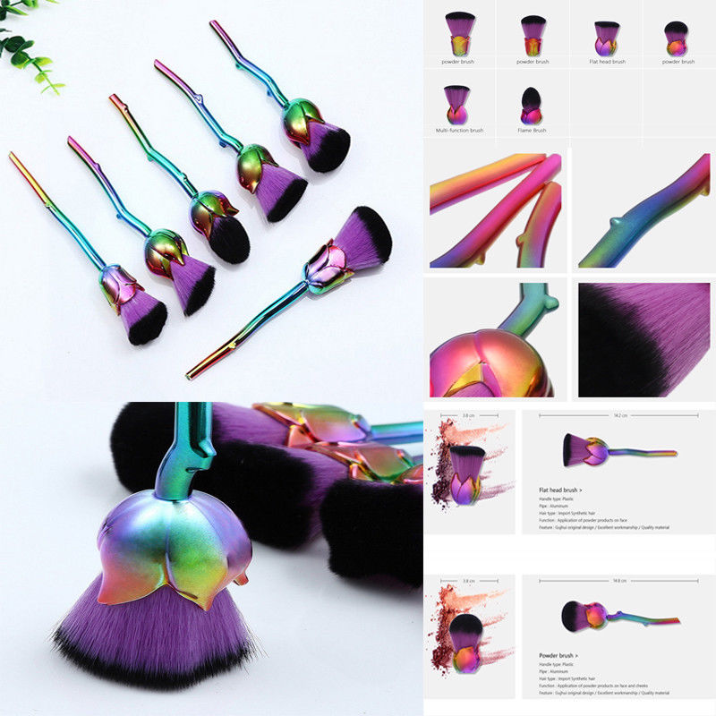 Pro 6PCS Purple Rose Flower Shape Make Up Brush Set Loose Powder Foundation Cream Face Eye Makeup Tools With Cosmetic Bag