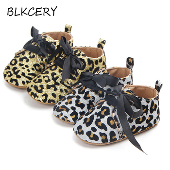Newborn Baby First Walkers Infant Crib Shoes for Girls Leopard Boots Lace-up Slippers Soft Sole Prewalker Toddler Moccasins Gear fashion baby shoes newborn girls boys warm rainbow snow boots toddler first walkers infant sweet soft sole prewalker crib shoes