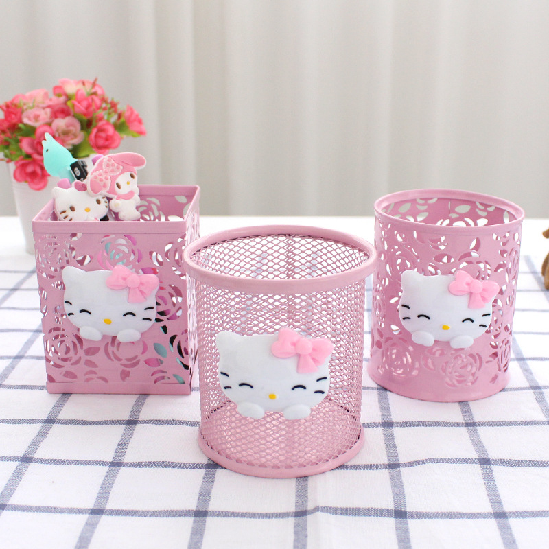 Cute Cartoon S Resin Pen Holder Vase With Led Night Light Pencil Pot Kawaii Desktop Storage Case Desk Organizer Quality First Office & School Supplies