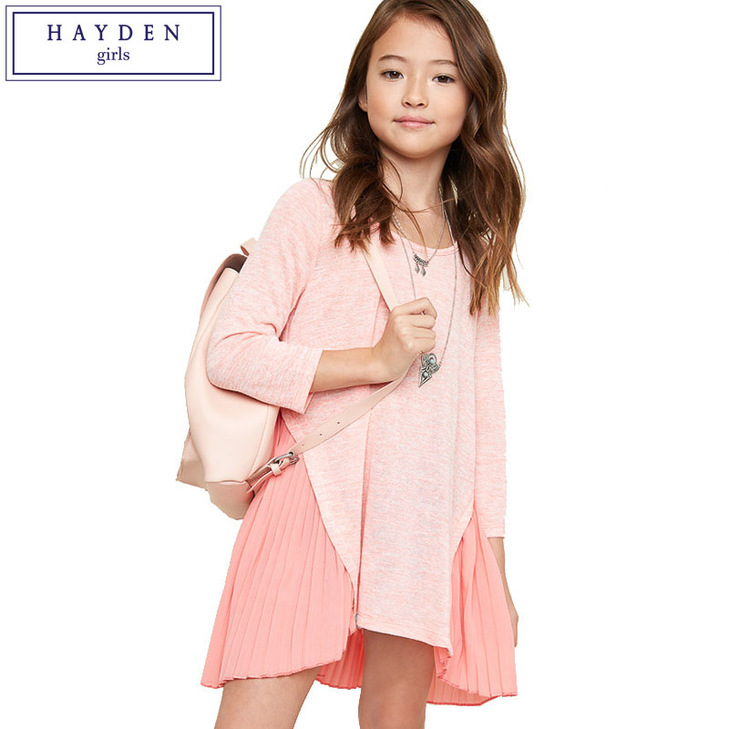 HAYDEN Girls Patchwork Dress Kids Pleated Dresses Solid Color Children Girl Long Sleeve O Neck Chiffon Dress Pink Blue Grey simple style solid color cowl neck 3 4 sleeve pleated loose blouse for women
