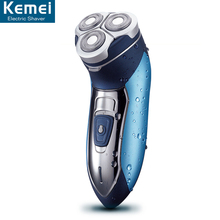 Kemei 7390 Whole body wash three knife head rotating razor rechargeable shaver 3D shaver beard trimmer for men's care shaver