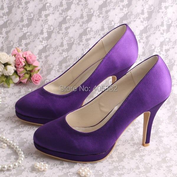 Personalized Wedding Slippers Bridal Party Slippers: Wedopus Custom Handmade Plain Women Shoes Purple High Heel