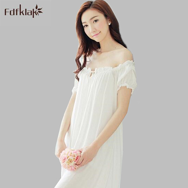 aece2ba46d New Sexy Lace summer dresses 2017 cotton nightgown women short sleeve  dressing gowns strapless long nightdress nightshirt