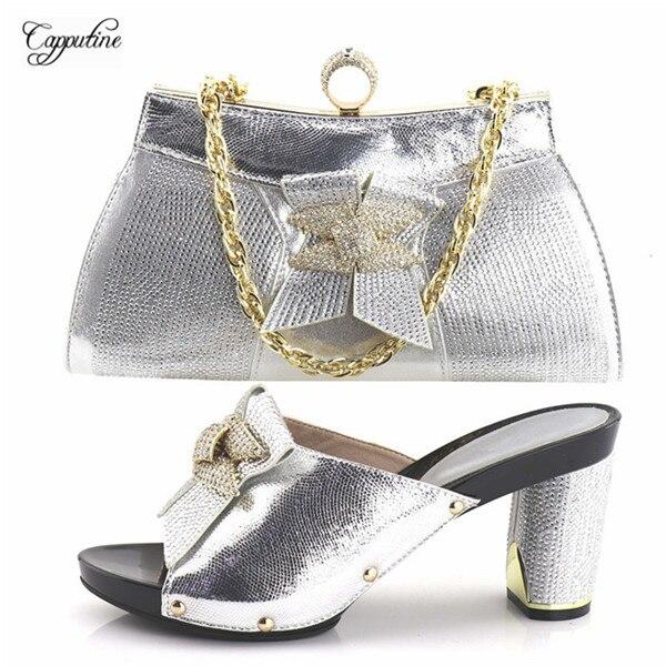 Элегантные Свадебные/вечерние Серебристые Женская обувь в африканском стиле и сумочка со стразами YH2018-08 Высота каблука 9 см